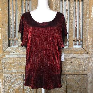 NY COLLECTION METALLIC RED CREPE TOP BLOUSE 2 X